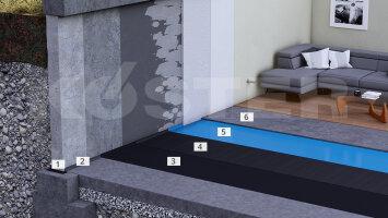 Kellerinnenabdichtungen auf der Bodenplatte mit kaltselbstklebenden Dichtungsbahnen